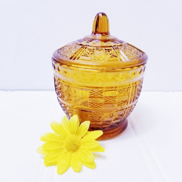 Vintag 70's Amber Glass Candy Dish with Lid